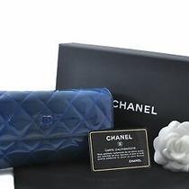 Authentic Chanel Enamel Matelasse Wallet Blue Box Cc B8310 Photo