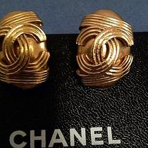 Authentic Chanel Gold Cc Logo Earrings Photo