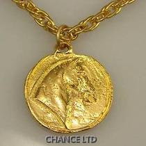 Authentic Chanel Gold Chain Horse Medal Necklace Great Condition Photo