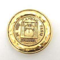 Authentic Chanel Gold Circle Round Shape Cambon Paris Brooch Photo