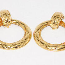 Authentic Chanel Goldtone Big Hoop Earring Made in France From Japan Photo