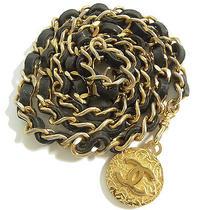 Authentic Chanel Goldtone Cc Logos Medalion Chain/black Leather Belt  Photo