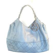 Authentic Chanel Gray Leather Coco Cabas Tote Bag Shoulder Handbag Photo