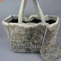 Authentic Chanel Gray Rabbit Fur Tote Bag Good Photo