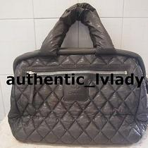 Authentic Chanel Grey  Quilted Coco Cocoon Bowling Zipper Bag-M3a Photo
