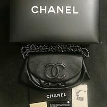 Authentic Chanel Half Moon Purse in Black Leather Silver Hardware Photo