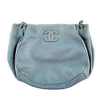Authentic Chanel Hamptons Cc Blue Lambskin Leather Classic Shoulder Tote Bag Photo