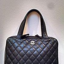 Authentic Chanel Handbag Camera Bag Black Caviar Leatherzippedtopmadeinitaly Photo