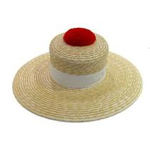 Authentic Chanel Hat Straw 100% Beige White Red Used Size S Cc Coco Photo