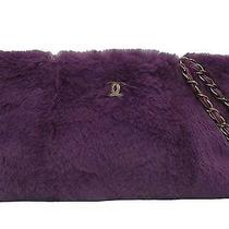 Authentic Chanel  Italy Purple  Fur Chain  Tote Shoulder Bag 90987 Photo