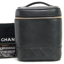 Authentic Chanel Lamb Skin Black Cosmetic Case Vanity Box Handbag Purse W/card Photo