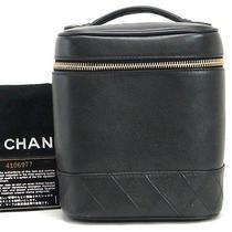 Authentic Chanel Lamb Skin Black Cosmetic Case Vanity Box Handbag Purse W/card Photo