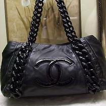 Authentic Chanel Large Black Lambskin Modern Chain Bag  Photo