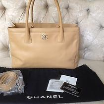 Authentic Chanel Large Tan Caviar Leather Cerf Tote Ghw Detached Strap Cc Lock Photo