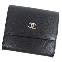 Authentic Chanel Leather Bifold Wallet Coco Botton Hook Cc Black Photo