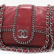 Authentic Chanel Luxury Double Chain Shoulder Bag Red Lambskin Leather Photo