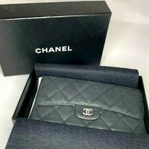 Authentic Chanel Matelasse Cc Trifold Wallet Black Quilted Leather Purse Photo
