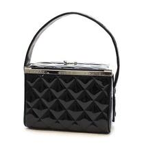 Authentic Chanel Matelasse Vanity Hand Bag Black Patent Leather 10064188 Photo