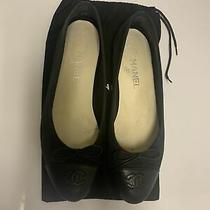 Authentic Chanel Navy Blue Suede and Leather Ballet Flats 39.5 Photo