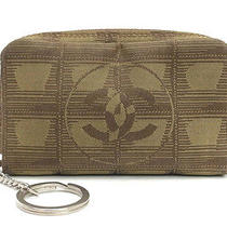 Authentic Chanel New Travel Line Khaki Tone Fabric Mini Pouch Purse W/key Ring  Photo