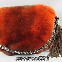 Authentic Chanel Orange and Black Rabbit Fur Hand Bag Excellent Photo