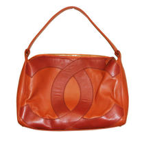 Authentic Chanel Orange Leather Hobo Logo Shoulder Bag Handbag  Photo