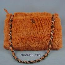 Authentic Chanel Orange Rabbit Fur Shoulder Bag Good Photo