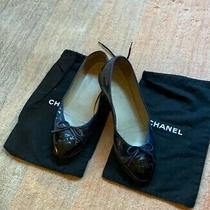 Authentic Chanel Patent Leather Ballerina Flats 39.5 (Blue & Black) W/ Dust Bag Photo