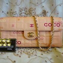 Authentic Chanel Pink Coco Signiture 2.55 Flap Shoulder Bag Pursecard Rare T244 Photo
