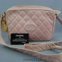 Authentic Chanel Pink Quilted Lamb Skin Cross Body/shoulder Bag Good Photo