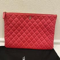 Authentic Chanel Pink Quilted Lambskin Leathero