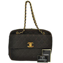 Authentic Chanel Quilted Chain Shoulder Bag Brown Canvas Vintage Ghw Junk A15076 Photo