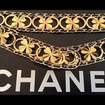 Authentic Chanel Rare '96a Gold Plated / Black Leather Clover Belt Photo