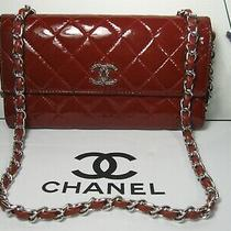 Authentic Chanel Red Burgundy Patent Leather Cc Logo Large Flap Clutch Bag Photo