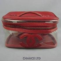 Authentic Chanel Red Lambskin and Clear Vinyl Cosmetic Vanity Pouch Good Photo