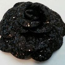 Authentic Chanel Signature Camellia Flower Black Sequins Make Pin or Brooch Rare Photo