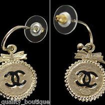 Authentic Chanel Signature Gold Cc Logo Medallion Bow Hook Earrings Box Photo