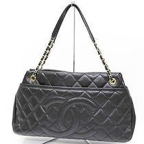 Authentic Chanel Soft Caviarskin Leather  Logo Coco Chain Tote Bag Photo