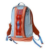 Authentic Chanel Sport Cc Backpack Bag Nylon Blue Leather Orange Italy 31mf992 Photo
