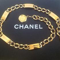 Authentic Chanel Stamped Gold Chain Link 5 Plate Belt & Bag  Photo