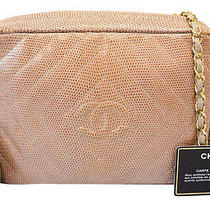 Authentic Chanel Tan Diamond Quilted Lizard Skin Leather Tassel Camera Bag Ltd Photo
