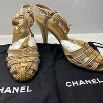 Authentic Chanel Taupe New Unworn Woven Sandals Heels Italy Size 38 Photo