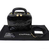 Authentic Chanel Vanity Cosmeteic Bag Black Patent Leather With Strap F24795 Photo