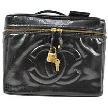 Authentic Chanel Vanity Cosmetics Hand Bag Black Patent Leather Cc Logos G00056  Photo