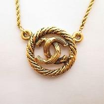 Authentic Chanel Vintage Cc Logo Gold Tone Necklace 3699 Photo