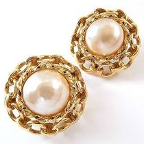 Authentic Chanel Vintage Earrings Plastic Pearl Clip-on With Box Free Shipping Photo