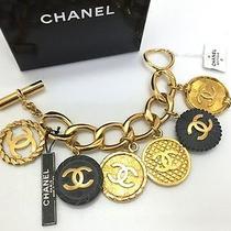 Authentic Chanel Vintage Gold Tone Black Charm Cuff Bangle Bracelet Coin Rare Photo