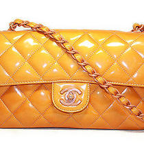 Authentic Chanel Vintage Orange Patent Leather Small Flap Hand Bag Photo