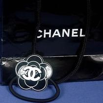 Authentic Chanel Vip Promotional Black Gift Hair Tie Ponytail Holder W Gift Bag  Photo
