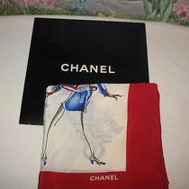 Authentic Chanel Vogue Fashionista Silk Scarf Red / Blue / Ivory W Box -- Euc Photo